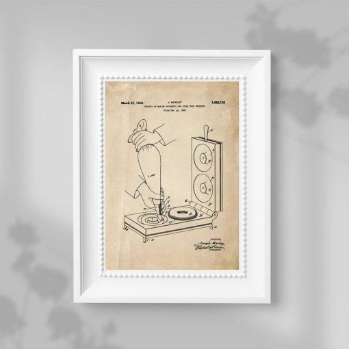 Plakat z kolorze sepii z patentem na urządzenie do pączków
