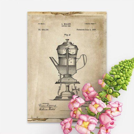 Plakat patent na kawiarkę z 1890r.