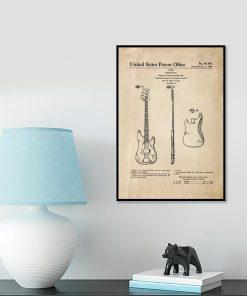 Plakat retro - Gitara basowa do salonu