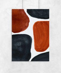 Plakat z granatwo-brązową abstrakcją na przedpokój