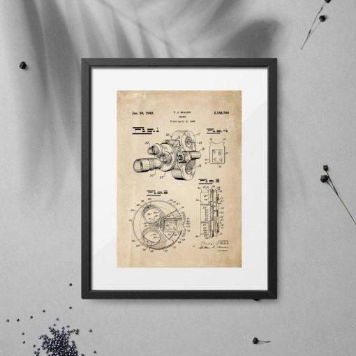 Plakat z motywem patentu na kamerę filmową do ozdoby biura