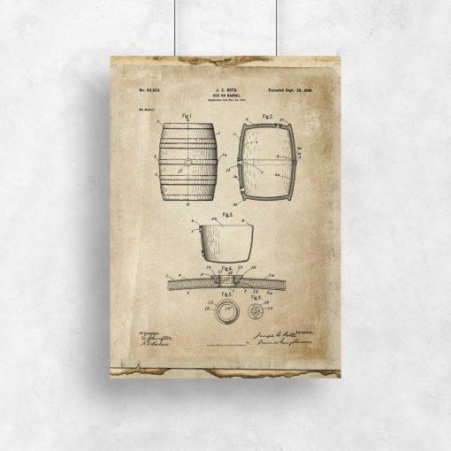 Plakat z rysunkiem opisowym beczki do salonu