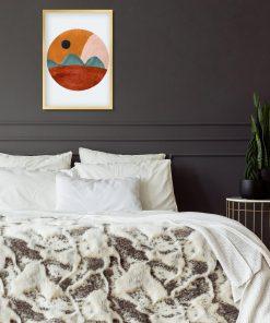 Abstrakcyjny plakat z pejzażem do sypialni