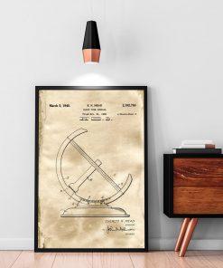 Plakat z rysunkiem opisowym zegara słonecznego do gabinetu