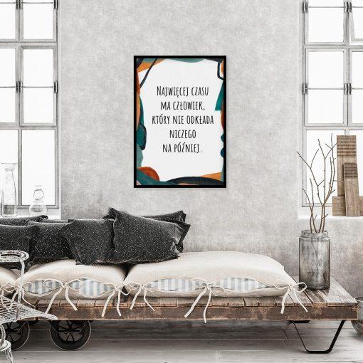 Artystyczny plakat z cytatem o czasie do gabinetu