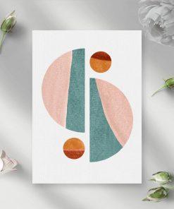 Pastelowy plakat z bryłami geometrycznymi