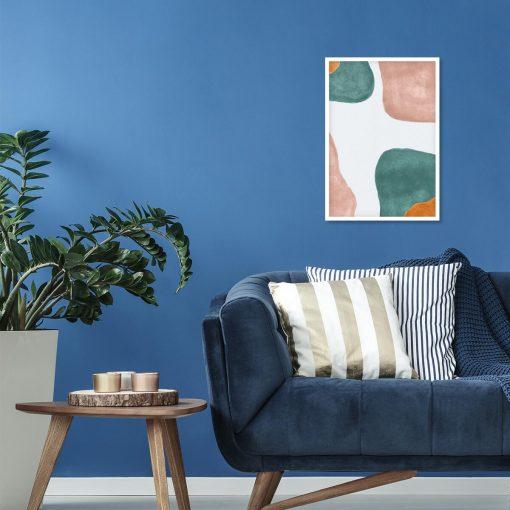Pastelowy plakat z turkusową abstrakcją do salonu