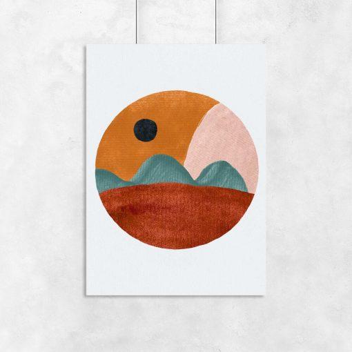 Abstrakcyjny plakat z pejzażem do jadalni