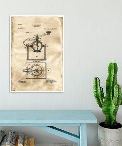 Fantastyczny plakat dla baristy z rysunkiem opisowym młynka do kawy do jadalni