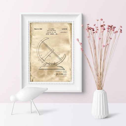 Plakat z rysunkiem opisowym zegara słonecznego do kawiarni