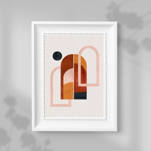 Plakat trzy okna i czarna kropka w tonacji czekolady