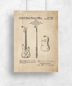 Plakat retro - Gitara basowa do gabinetu