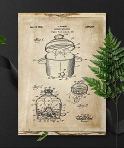 Plakat vintage z urządzeniem do gotowania jajek