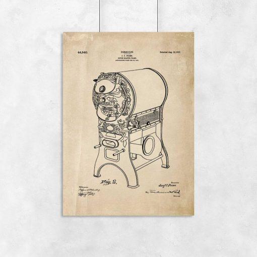 Poster dla kawosza - Patent na piec do kawy do kawiarni
