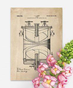 Plakat retro z ryciną schematu budowy kuchenki gazowej
