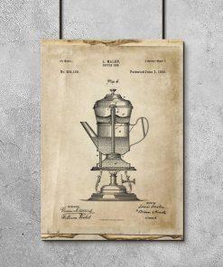 Plakat vintage z patentem na kawiarkę z 1890r.