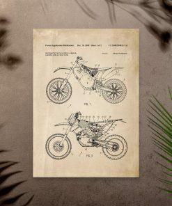 Plakat schemat budowy motocykla terenowego