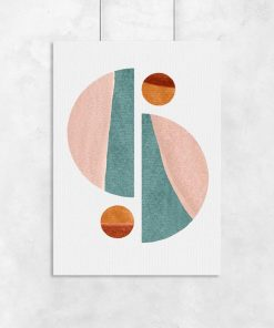 Plakat połówki kuli i kule w pastelowej tonacji