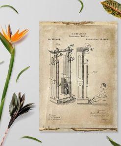 Plakat z pierwsza maszyna do ćwiczeń gimnastycznych