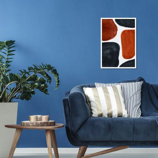 Plakat z granatwo-brązową abstrakcją do salonu
