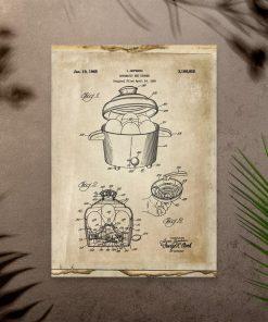 Plakat w sepii z naczyniem do gotowania jajek