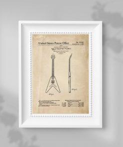 Plakat do dekoracji szkoły z patentem na produkcje gitar
