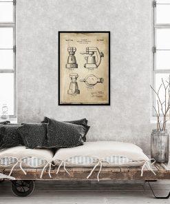 Plakat z rysunkiem opisowym ekspresu kawowego do restauracji