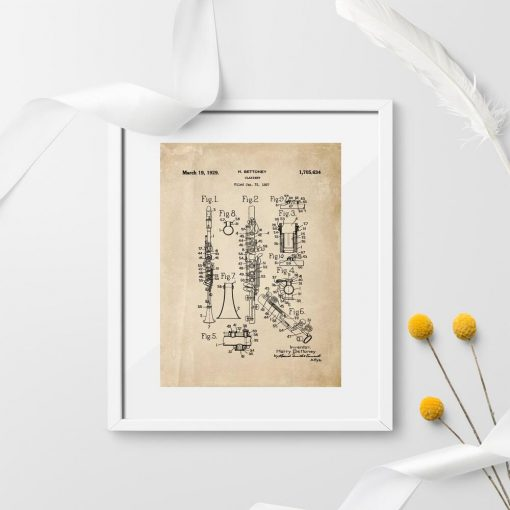 Plakat - plan budowy klarnetu