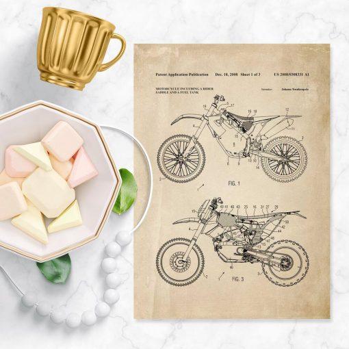 Plakat w stylu vintage z patentem na motocykl