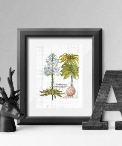 Plakat rustykalny z białą lilią