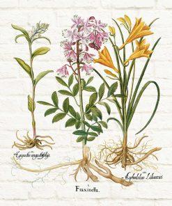 Plakat rustykalny z kwiatami na tle cegieł