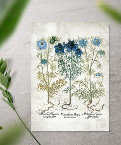 Plakat z roślinami w niebieskim kolorze