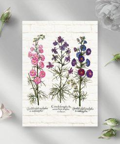 Plakat z roślinami zielnymi na tle cegieł