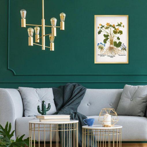 Rustykalny plakat z polnymi kwiatami do salonu