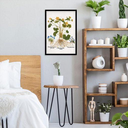 Rustykalny plakat z polnymi kwiatami do sypialni