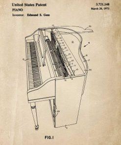 Plakat atest na budowę fortepianu