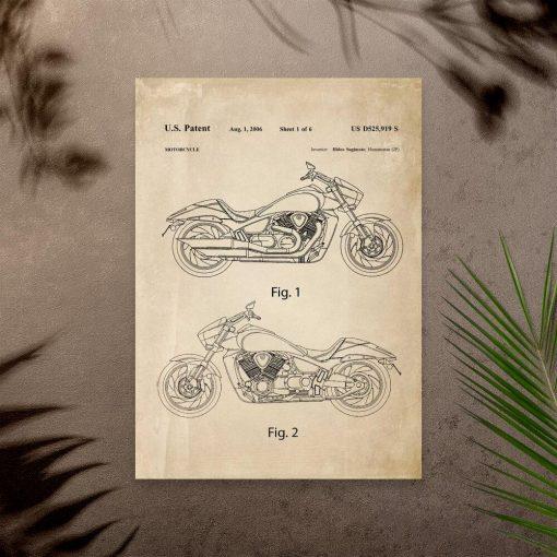 Plakat bez ram z patentem na japoński motocykl z 2006r.