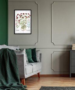Plakat botaniczny z czerwonymi kwiatami do salonu