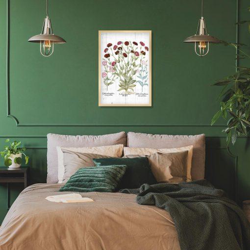 Plakat botaniczny z czerwonymi kwiatami do sypialni