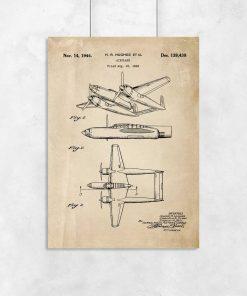 Plakat budowa samolotu dwukadłubowego z 1943r.