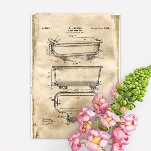 Plakat budową wanny szklanej