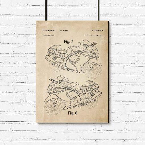 Plakat dla miłośnika motoryzacji - Patent na motor do garażu