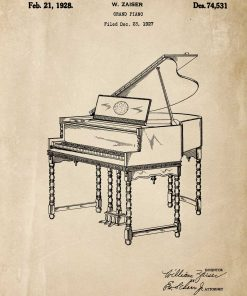 Plakat do oprawienia z pianinem w kolorze sepii