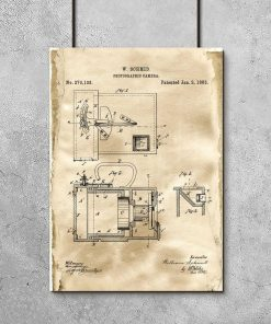 Plakat - Patent na aparat z 1883 roku do gabinetu