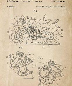 Plakat patent na motocykl z 2007r.
