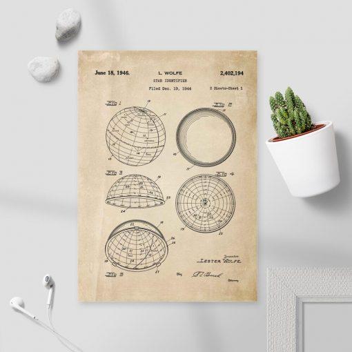 Plakat patentem na budowę urządzenia astronomicznego
