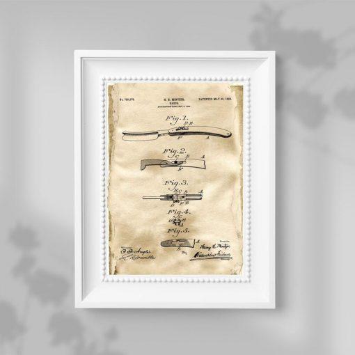 Plakat patentowy z brzytwą do łazienki