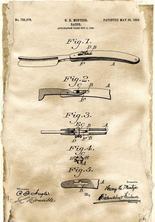 Plakat patentowy z brzytwą