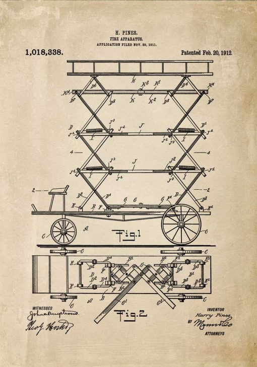 Plakat retro - patent na drabinę do gaszenia pożarów