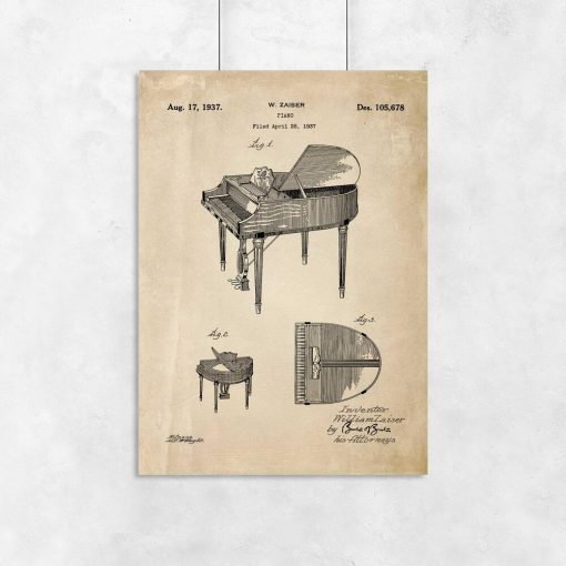 Plakat retro - Patent na fortepian dla muzyka
